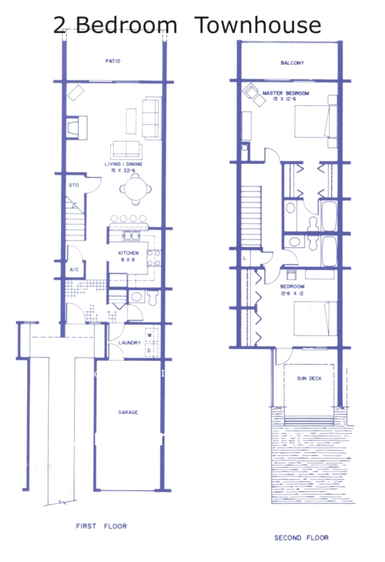 Floor plan sea winds condos two bedroom townhouses in st Two bedroom townhouse plans