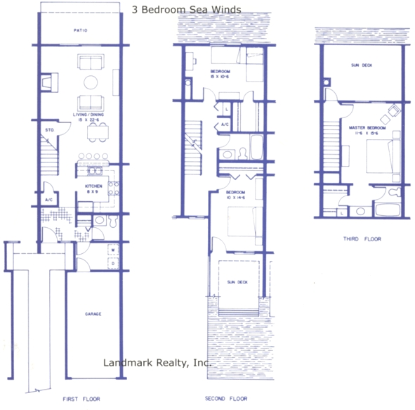 Townhouse floor plans rachael edwards for Three bedroom townhouse floor plans