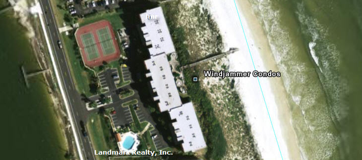 Click here to enlarge the aerial view of Windjammer Condos
