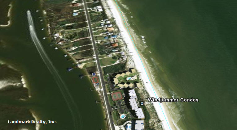 Click here to enlarge the aerial view of walkway to beach at Windjammer Condos