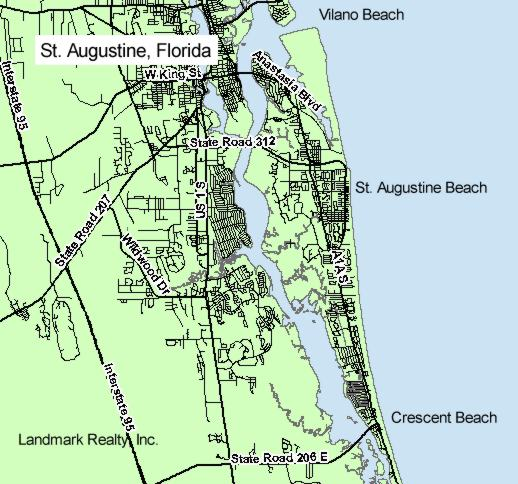 St. Augustine Florida is located in southeast part of St. Johns County.